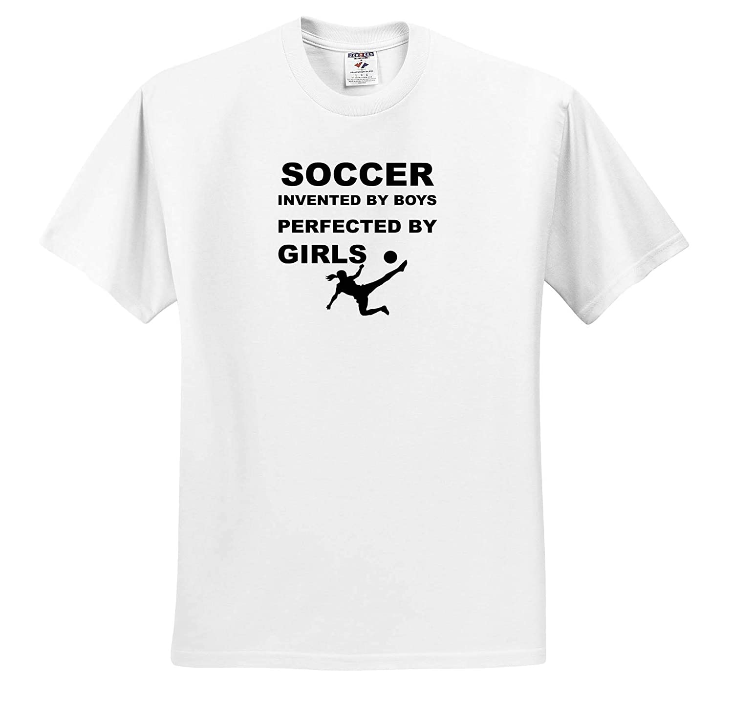 3dRose Carrie Merchant Quote T-Shirts Image of Soccer Invented by Boys Perfected by Girls