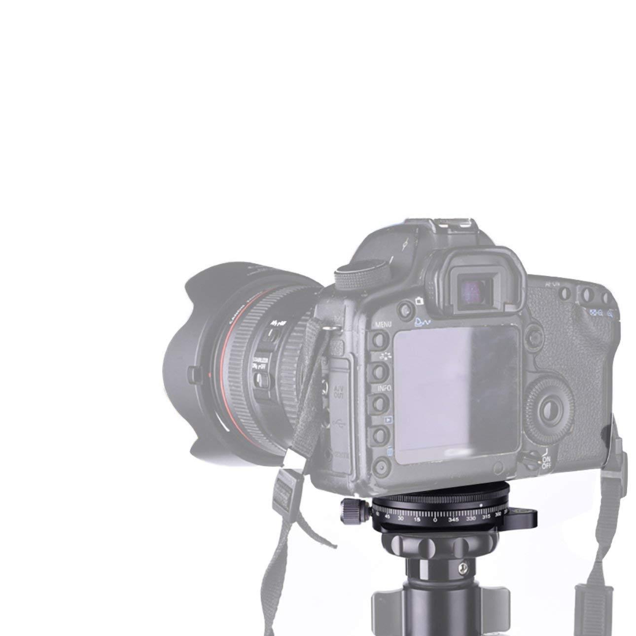 Ballylelly FC-60 Aleaci/ón de Aluminio Rotaci/ón de 360 Grados Panorama R/ótula para c/ámara Tr/ípode Placa giratoria Placa Base