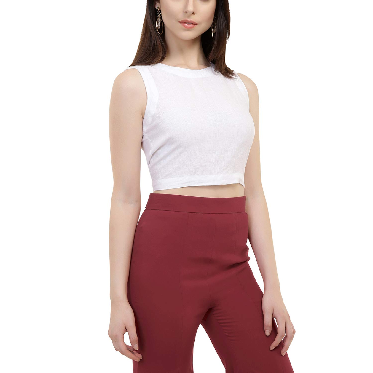 8f08dc396d205d Ashtag White Linen Crop Top  Amazon.in  Clothing   Accessories