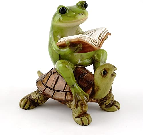 Top Collection Miniature Fairy Garden Terrarium Frog Reading Book on Turtle Statue, Small
