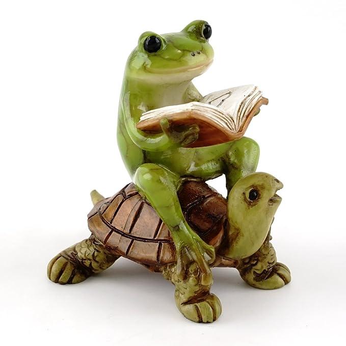 Top Collection Miniature Fairy Garden & Terrarium Frog Reading Book on Turtle Statue, Small