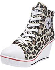 ACE SHOCK Women Wedge Sneakers Wide Width Fashion High Heeled Platform Canvas Shoes