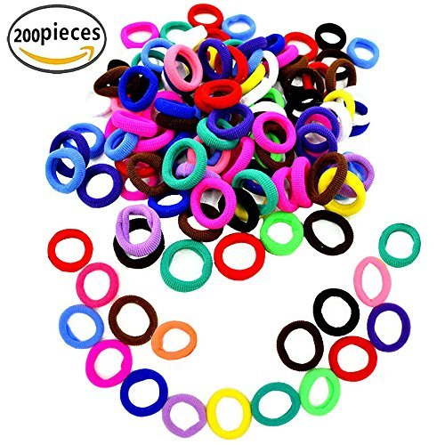 (Hair Bands Ties,200pcs Colorful Elastic Rubber Bands Not hurt hair & No Crease Ponytail Holders,Tiny Soft Hair Ties for Toddler Baby Kids (Multi-Colored))