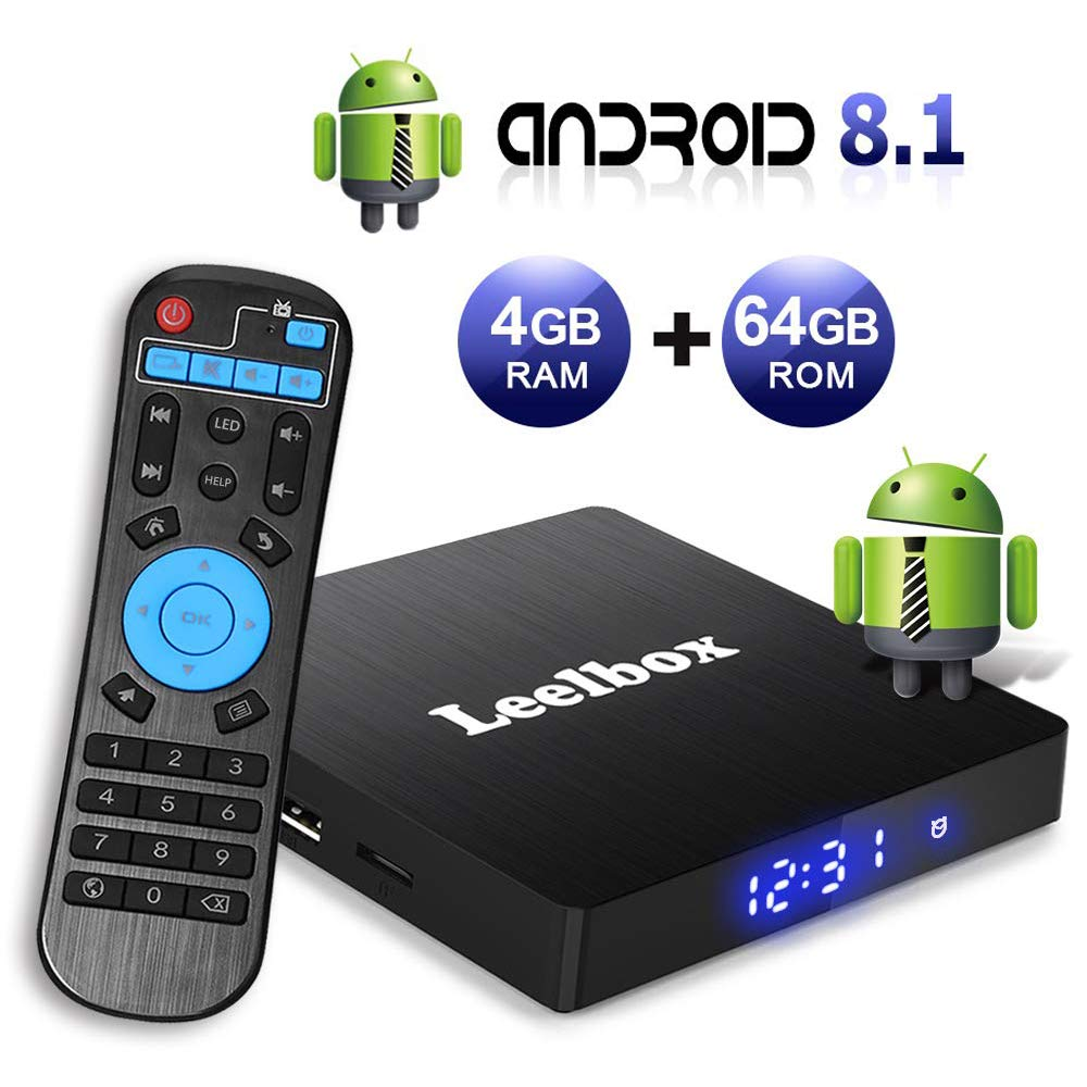 Android TV Box 8.1, 4GB RAM+64GB ROM Leelbox Q4 MAX Quad-Core 2.4GHz Support BT 4.1/WiFi/3D/4K/H.265 by Leelbox (Image #1)