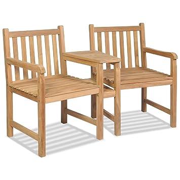 Luckyfu Este Juego de sillas de jardín 2 Unidades de Teca con Agujero para sombrilla.