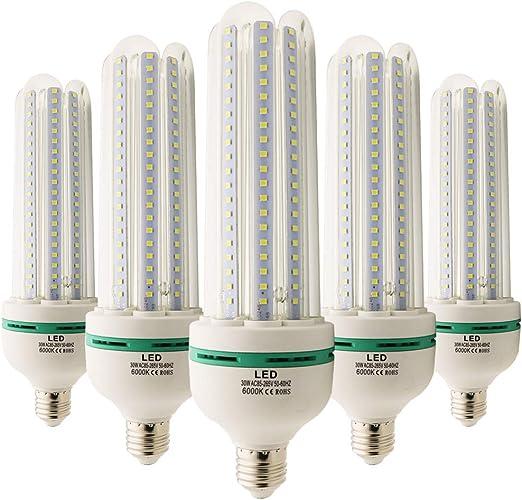 Pack de 5 bombillas LED tipo mazorca, 30 W, E27, SMD, 4U, luz ...