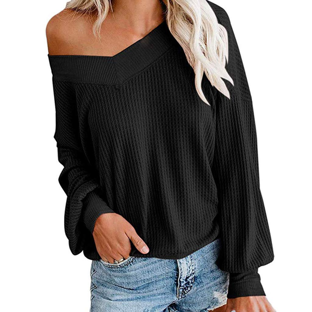 SADUORHAPPY Womens Pullover Waffle Knit Tops Drop Shoulder V-Neck Patchwork Long Billowed Sleeves Loose Shirts Black by SADUORHAPPY Long Sleeve