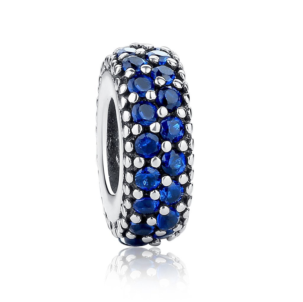 Everbling Inspiration Within Fancy CZ Spacer 925 Sterling Silver Bead Fits European Charm Bracelet (Blue)