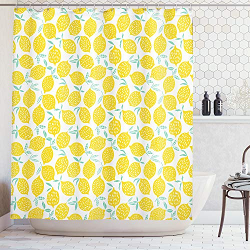 Lunarable Mint Yellow Shower Curtain, Summer Fruit Pattern Dots Stripes Doodle Lemons Leaves, Cloth Fabric Bathroom Decor Set Hooks, 84 Inches Extra Long, Mint Green Yellow