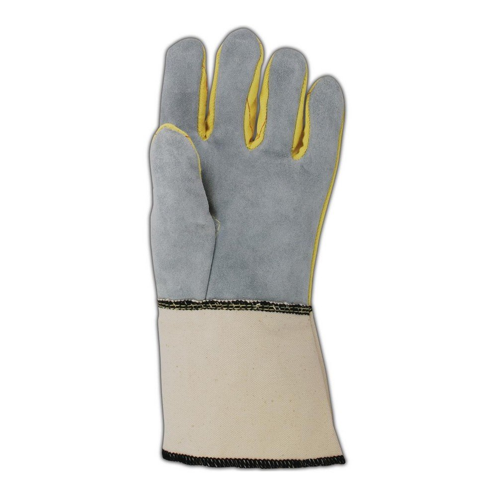 Magid Glove & Safety K41G Magid 20 oz. Kevlar Hot Mill Gloves with Leather Palm, Brown Yellow , Men's (Fits Large) (Pack of 12)