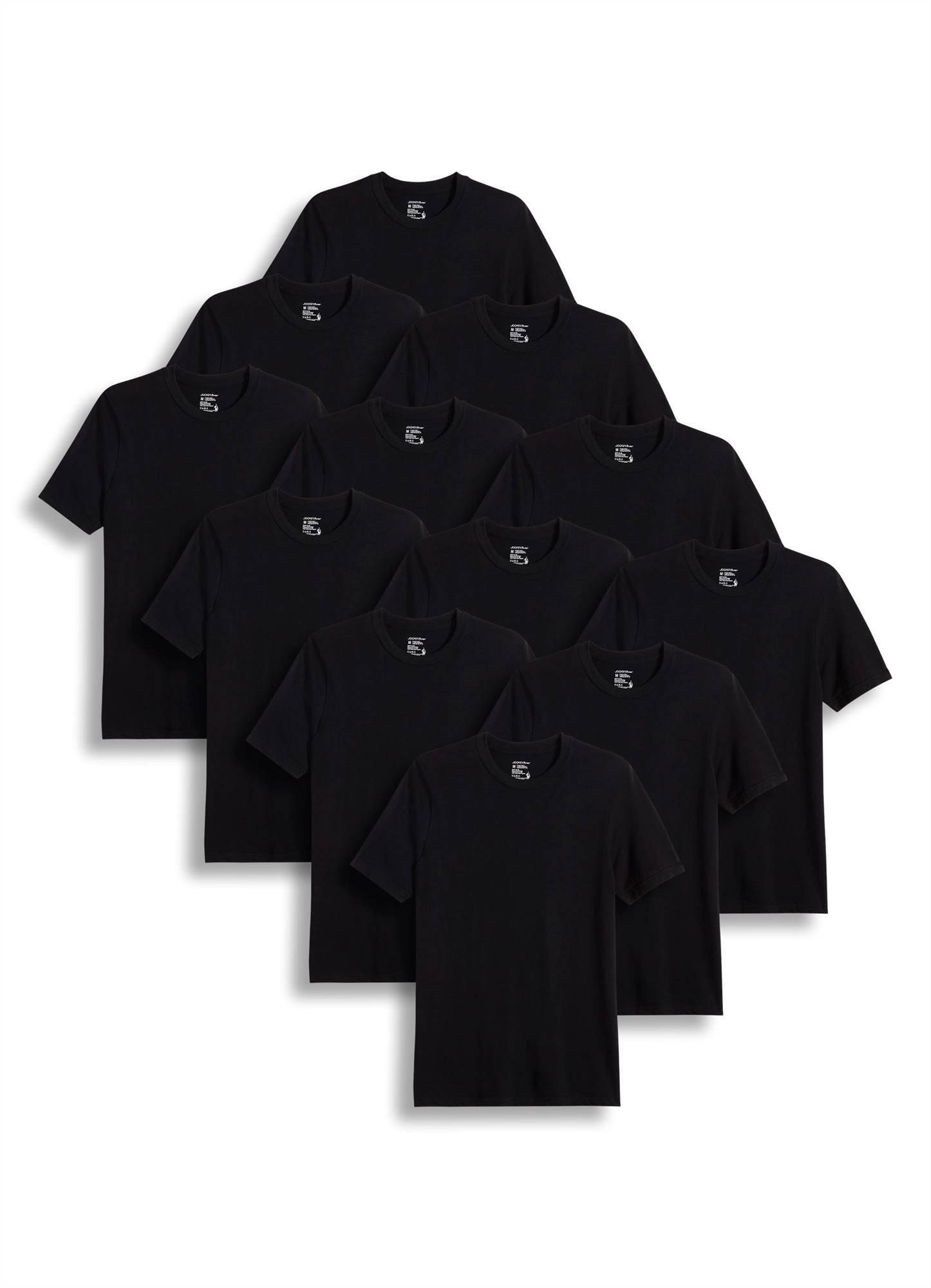 Jockey Men's T-Shirts Big & Tall Classic Crew Neck T-Shirt - 12 Pack, Black, 2XL