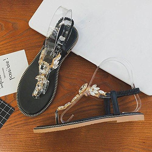 Nero Opzionale CN36 Semplice Flat stoffa Colore Scarpe Nero con FEIFEI Nero EU36 Estate strass Donna UK4 di Verde Sandali dimensioni Beach Materiale Rx7F6q