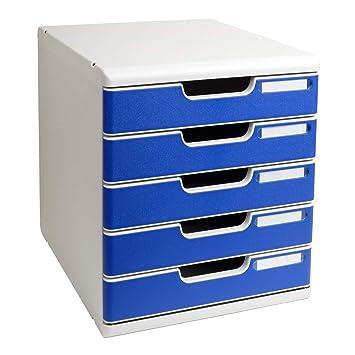 86ee0a804a08a Exacompta-301003D-Modulo Module de Classement 5 Tiroirs Gris Lumière Bleu