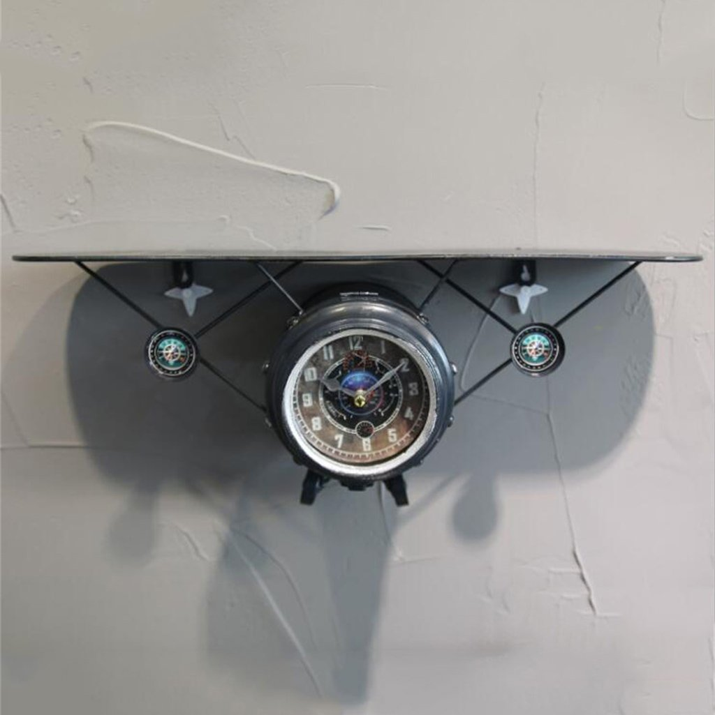 YFF-壁時計 現代ミニマルリビングルーム/ベッドルーム/スタディ壁ミュート装飾時計クリエイティブアイアンクラフト航空機モデルストレージシェルフレトロノスタルジック飛行機の壁時計 ( 色 : 青 ) B07CLM8Q1K青