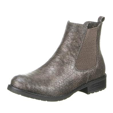 Damen Schuhe Stiefeletten Gefütterte Stretch Boots Grau