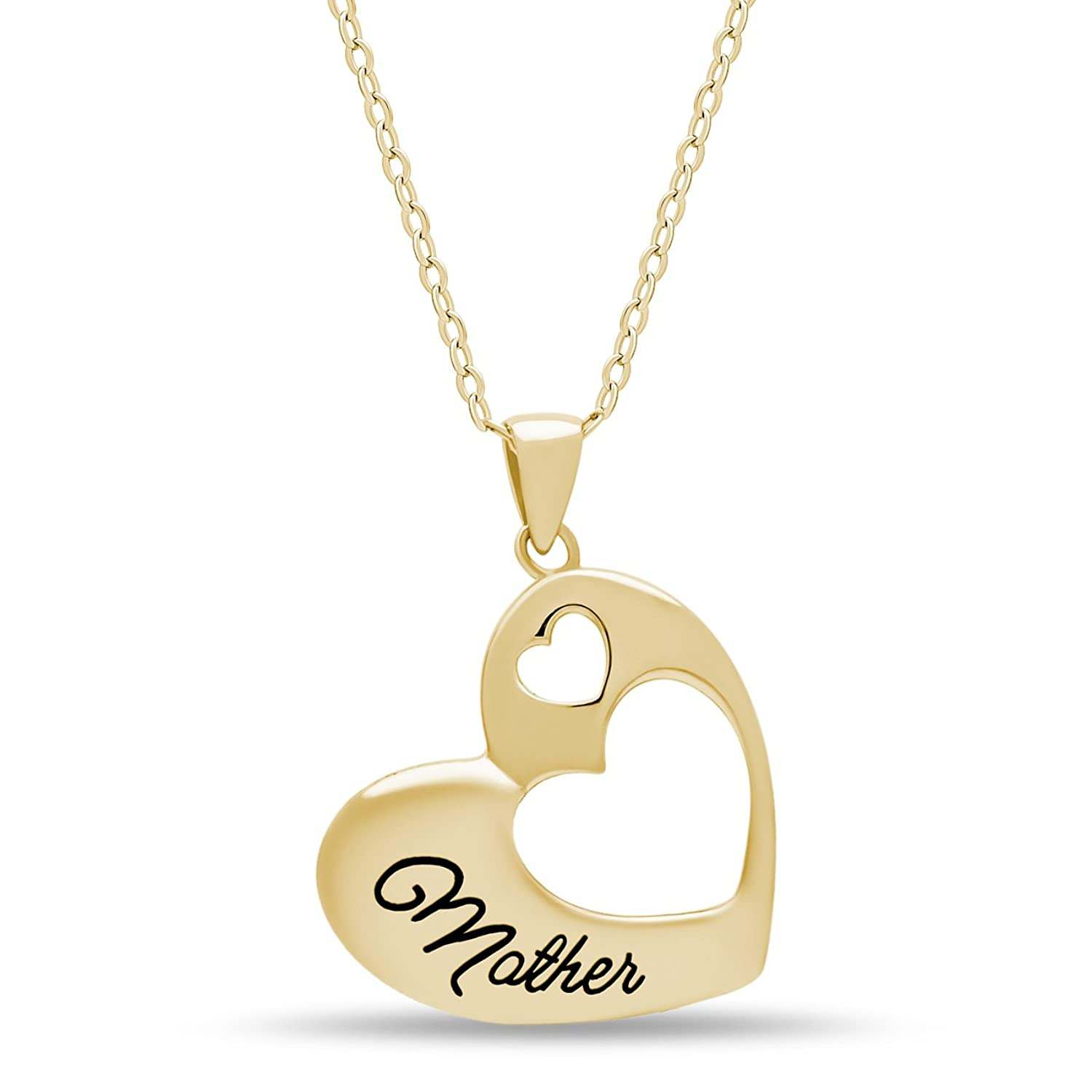 """925 Sterling Silver Elegant Mother Necklace Silver Double Heart Necklace for Mom """"Mother"""" Silver or 14k Gold Plated Heart Pendant for Mother Two Heart Necklace 16inch + 2"""" Ext w SpringRing Clasp"""