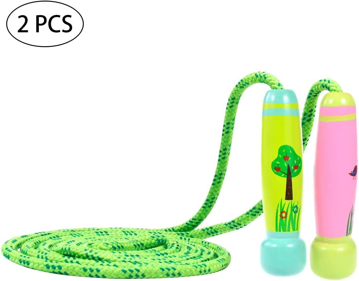 DRM 2 Pcs Adjustable Skipping Rope for Kids Cotton Jump Rope Wood Handles Cartoon Printing for Fitness Sport Exercise Jumping Gift Suitable for School Game or Outdoor Activity