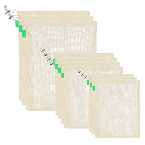 Pinji Bolsa de Producción Reutilizable de Algodón Orgánico Lavables, Juego de 10 Bolsas de la Compra Bolsas de Malla Reutilizables Degradables para ...