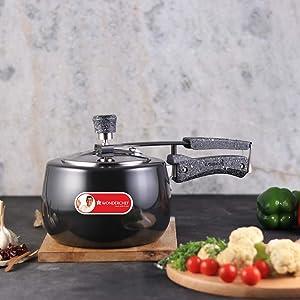 Wonderchef Taurus Hard Anodized Aluminum Indian Cooking Inner Lid Pressure Cooker, 3 Quarts, Black