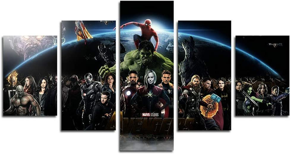 hcozy Print Painting Canvas, 5 Pieces Groot Infinity War Characters Canvas Wall Art Painting for Home Living Room Office Mordern Decoration Gift(Unframed)…