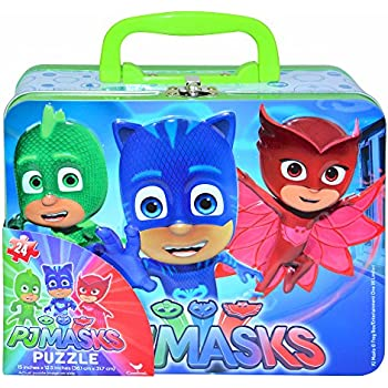 Disney Jr. PJ Masks Catboy, Gekko & Owlette Large Lunch Tin Box with 24pc Puzzles