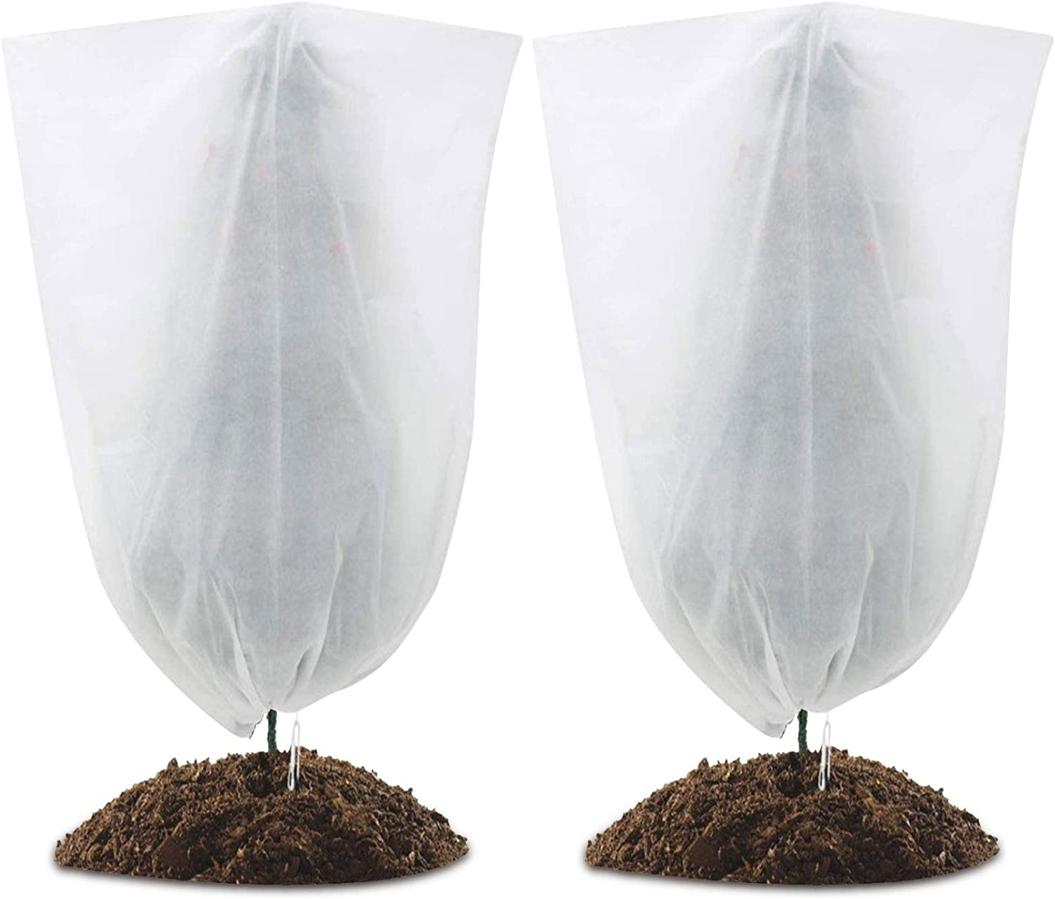 2 Pack Plant Frost Protection Covers, Winter Drawstring Plant Covers,Plant Anti-Freeze Jacket for Cold Weather Protection & Plant Growth (47.24in ×70.87in)