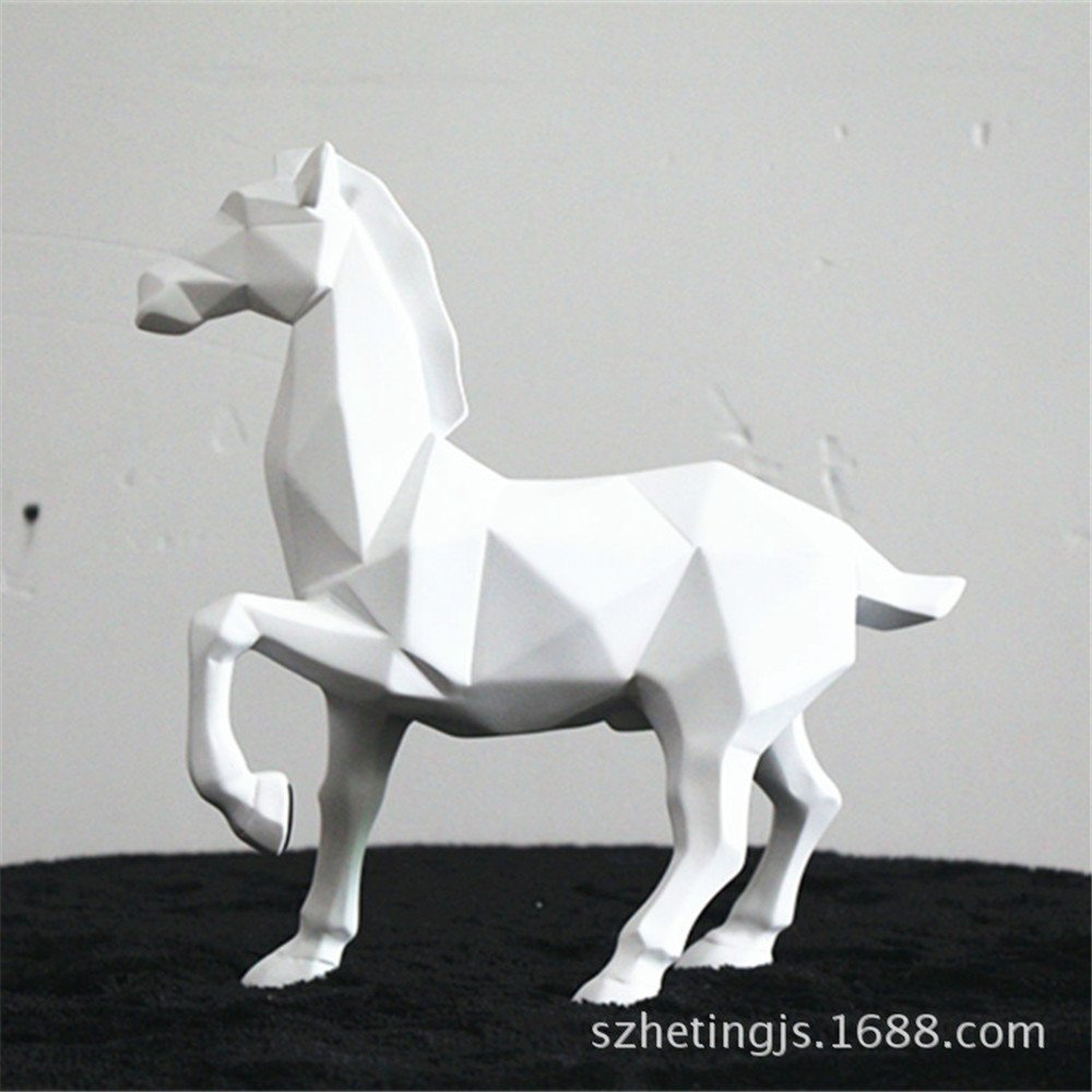 Horse Sculpture Statue Crafts Home Model Home Table Decoration Geometric Resin Animal Statue Crafts (White)