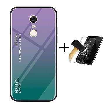 PANXIYUE Funda Xiaomi Redmi 5 Plus,Carcasas de Vidrio en Color ...