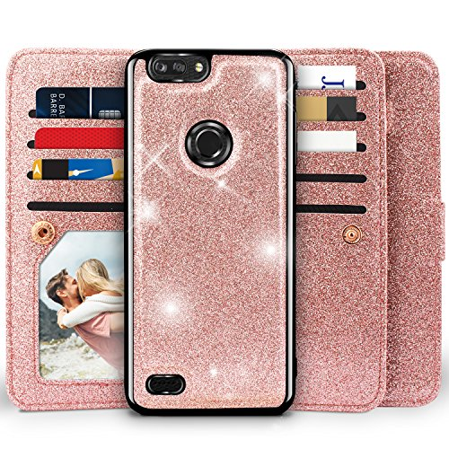 ZTE Blade Z Max Case,ZTE Blade Zmax Pro 2 Case,ZTE Sequoia Case, Miss Arts Girls [Detachable] Magnetic Glitter Wallet Case With Car Mount Holder, 9 Card Slots, PU Leather Cover for ZTE Z982 -Rose Gold