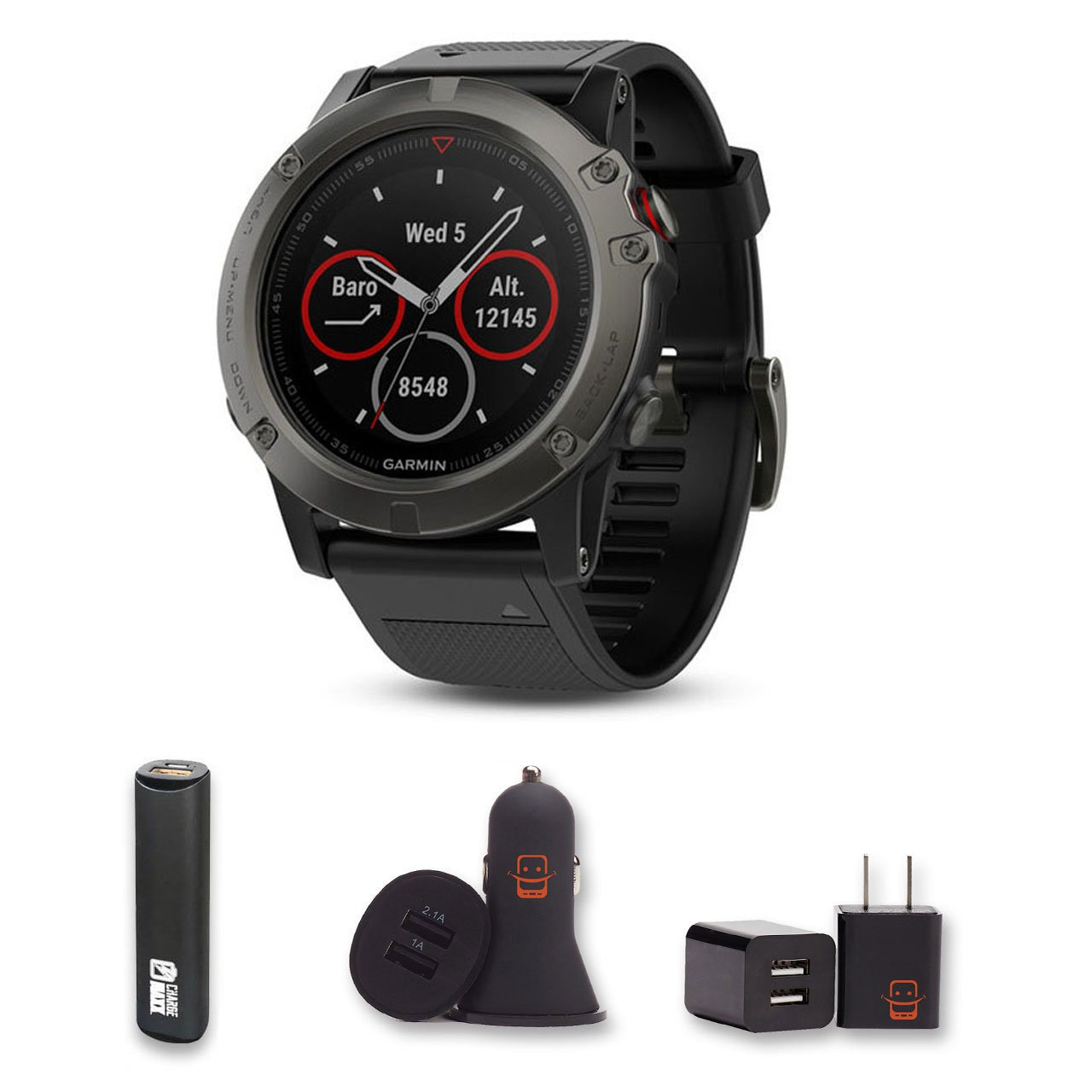 Garmin Fenix 5 Sapphire (Black/Black Band) Bundle with PowerBank + USB Car Charger + USB Wall Charger (4 Items) by E Zee Electronics (Image #1)