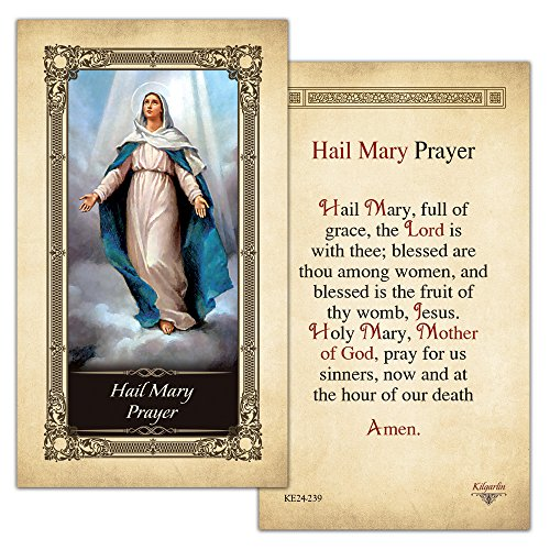 Hail Mary Prayer Laminated Holy Card - Pack of 3