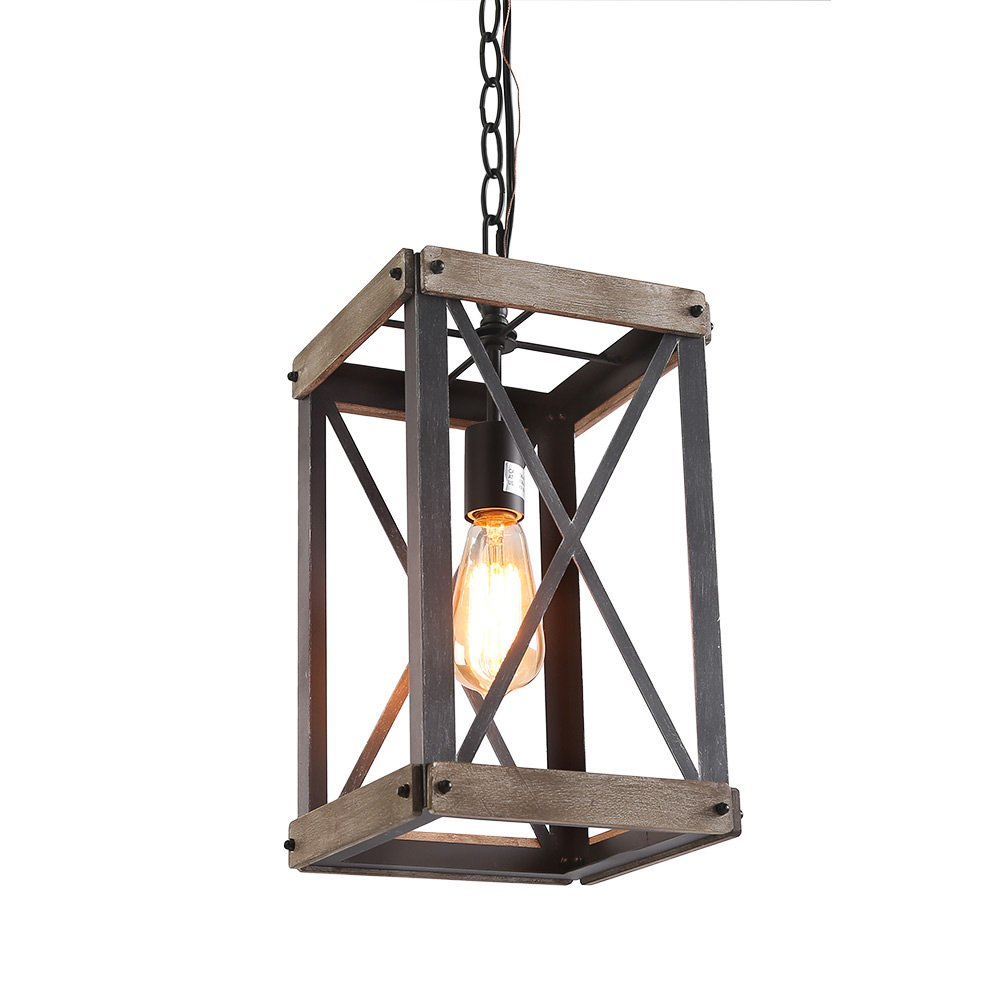 LNC Cage Pendant Lights, Wood Bond Chandelier for Island, Living Room, Non-Flat Ceiling Applicable