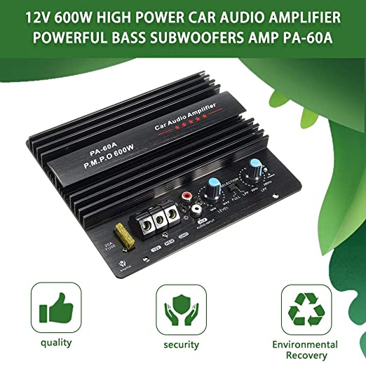 Noradtjcca 12V Mono 600W High Power Car Audio Amplifier PA-60A Fashion Wire Drawing Powerful Bass Subwoofers Amplifier With 20A Fuse