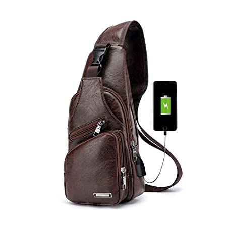 for whole family buying now diversified in packaging Pawaca Men's Sling Shoulder Bag, PU Leather Outdoor Chest Bag with USB Port  Casual Crossbody Bag Satchel Backpack for Men's Business, Hiking, Travel