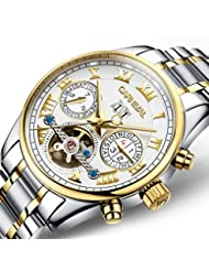PASOY Carnival Mens Watch Automatic Tourbillon Stainless Stell Date White Dial Skeleton Analog Watches