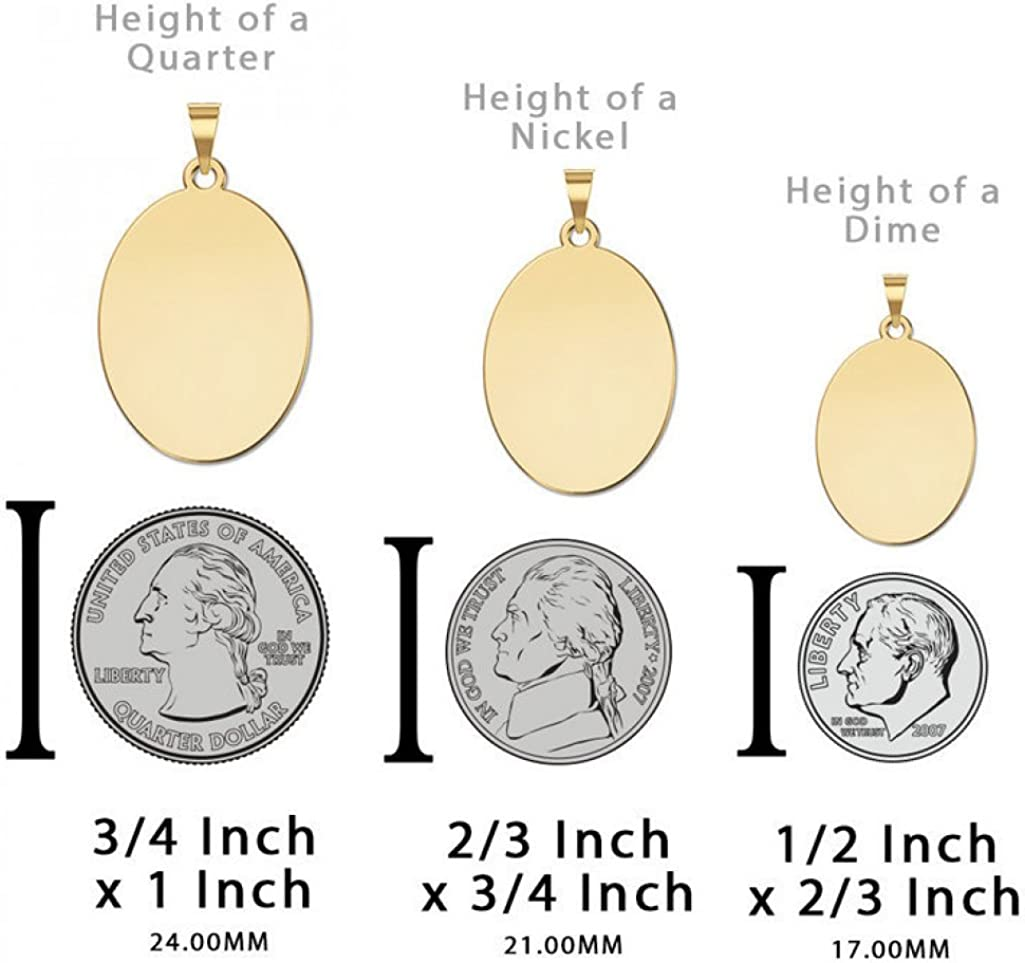 Solid 14K Yellow Gold Oval 2//3 X 3//4 Inch Size of Nickel PicturesOnGold.com Saint Quentin