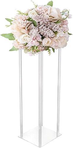 Simprefine 2 Pack 32'' Tall 8'' Dia. Centerpiece Wedding Decoration Modern Tall Vase Elegant Crystal Acrylic Flower Stand Tabletop Display Rack Floral Backdrop Clear Column Pillar Square Prop