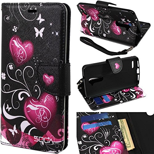 Cover Compatible for ZTE Max Duo LTE/Imperial Max/Kirk/ZTE Zmax Pro Case, SOGA [Pocketbook Series] PU Leather Magnetic Flip Design Wallet Case - Black Butterfly Heart