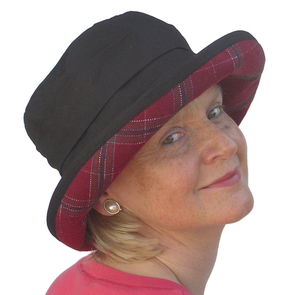 Ladies Black Pleated Wide Brim Ladies Waterproof Wax Winter Rain Hat   Amazon.co.uk  Clothing 0a3d5ad8a8b