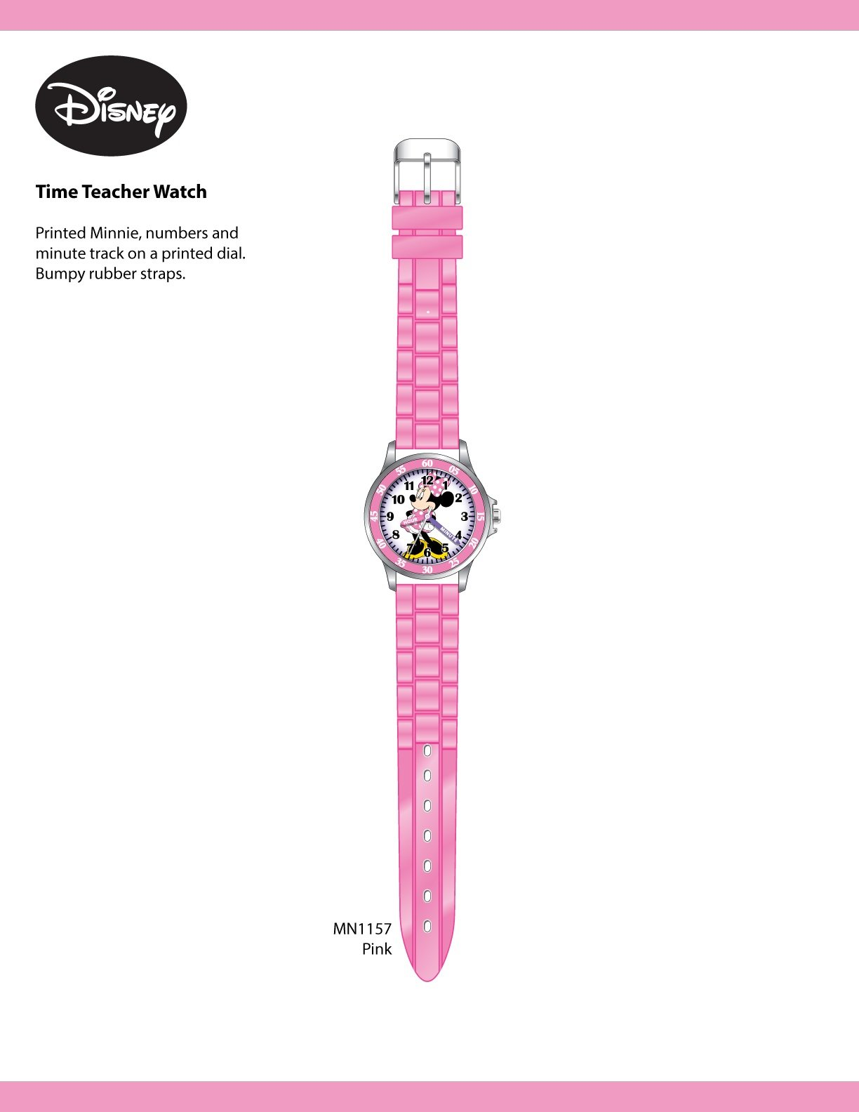 Minnie Mouse Kids' Analog Watch with Silver-Tone Casing, Pink Bezel, Pink Strap – Official Minnie Mouse Character on The Dial, Time-Teacher Watch, Safe for Children – Model: MN1157