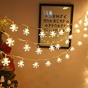 N/J Christmas String Lights, 19.6 ft 40 LED Fairy Lights Snowflake Battery Operated Waterproof for Xmas Garden Patio Bedroom Party Wedding Decor Indoor Outdoor Celebration Warm White