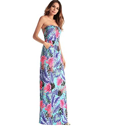 Amazon com: LUCKY-U Woman Dress, Flower Print Long Dresses Hot