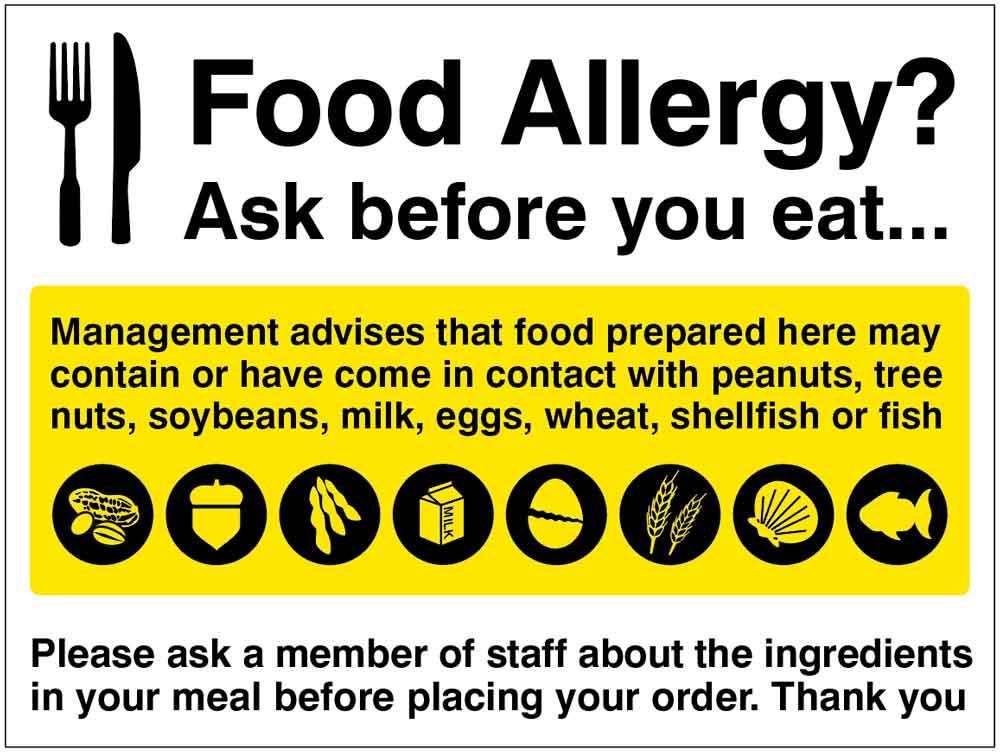 Metal Food Allergy Warning Safety Notice Sign A5 Size Made in UK Easy Clean