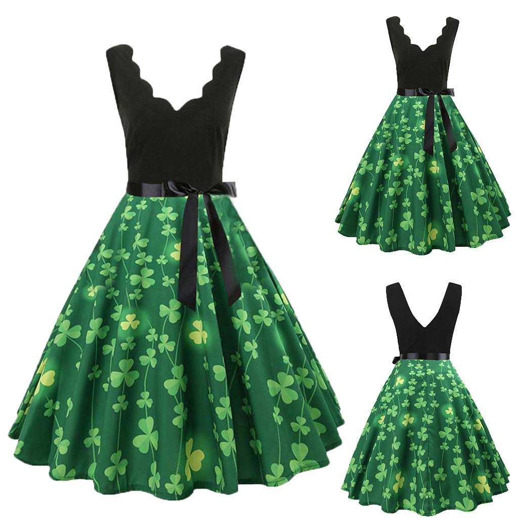 Dress for Women WANQUIY Shamrock Print Vintage Cocktail Party Evening Swing Dress for Saint Patricks Day