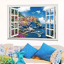 Mediterranean country scenery scenery photo frame window landscape wall art stickers PVC removable sticker