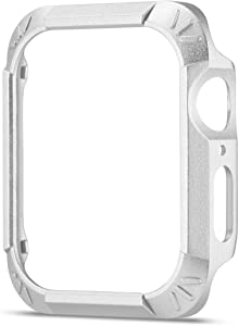 Anke's Tough Armor Apple Watch Series 4 Colorful Screen Protector(40mm/44mm) 2 in 1,Series 4 Soft TPU Cover Bumper Comprehensive Protection iwatch case (Silvery, 40mm)