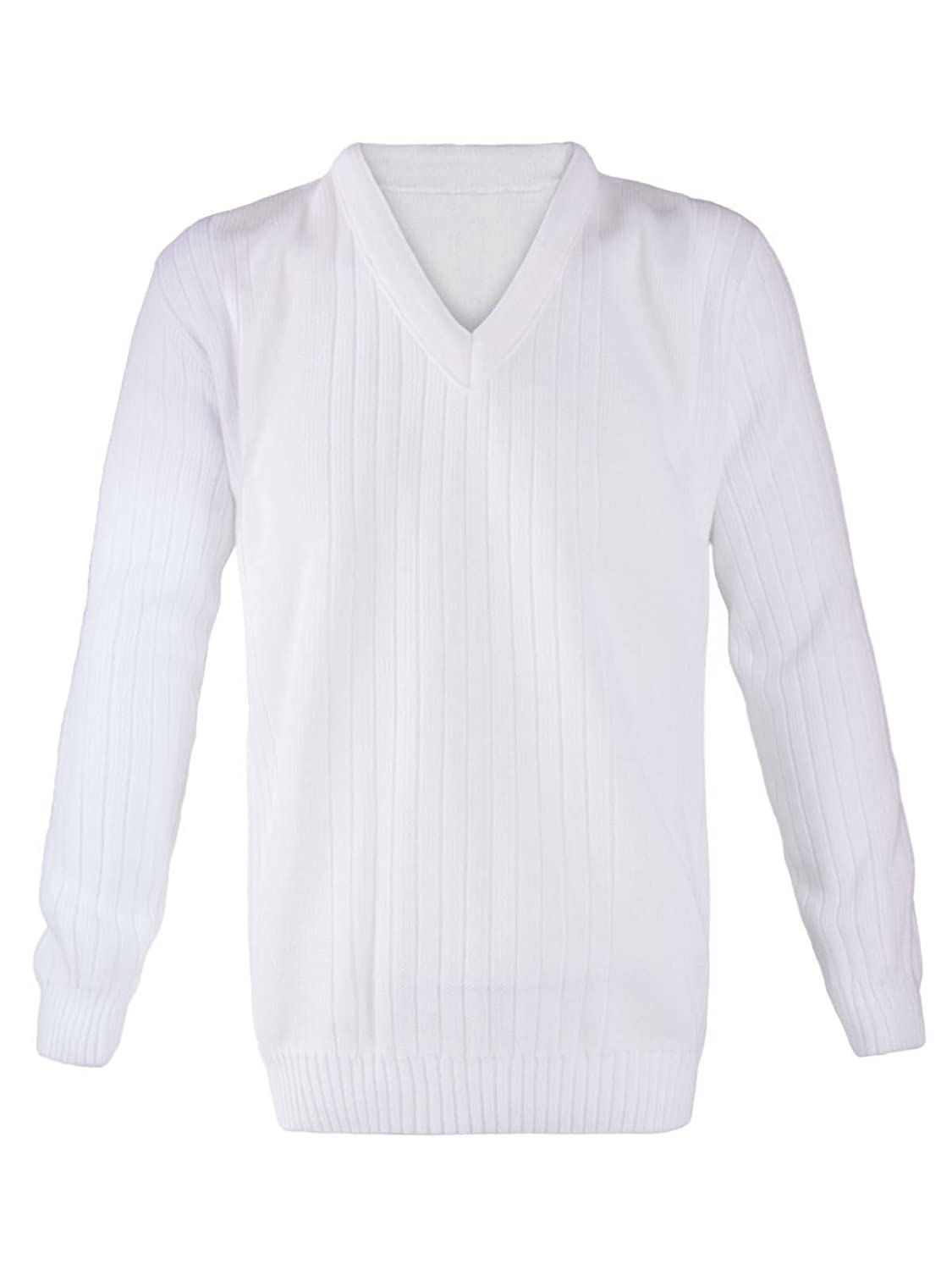 Rimi Hanger Mens Lawn Bowling Long Sleeve V Neck Knitted Jumper Adults Ribbed White Sweater S//5XL