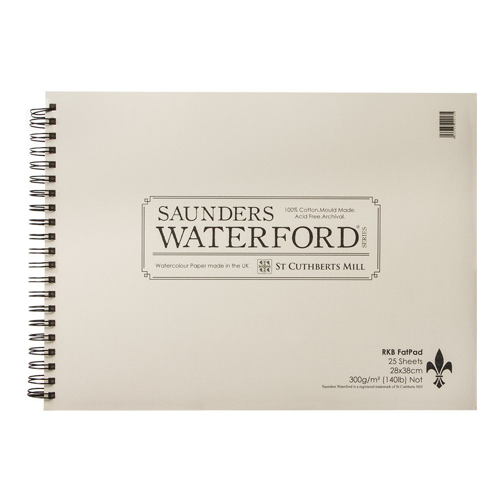 Saunders Waterford: Fat Pad-Blocco di carta per acquerello con spirale, dimensioni: 28 x 38 cm, 25 fogli, non 100% cotone