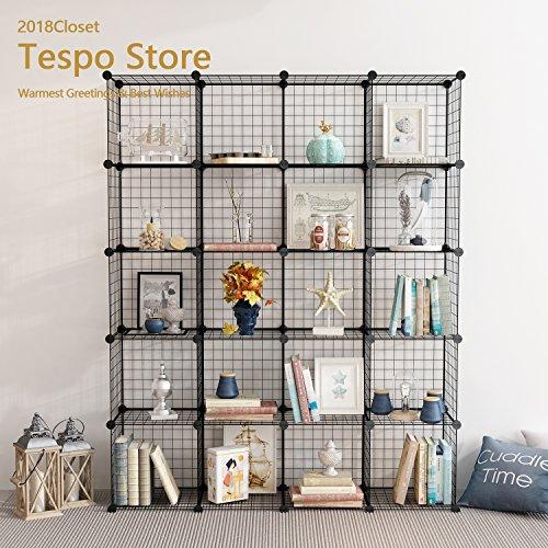 Tespo Metal Wire Storage Cubes, Modular Shelving Grids, DIY Closet Organization System, Bookcase, Cabinet, (20 - Regular Cube)