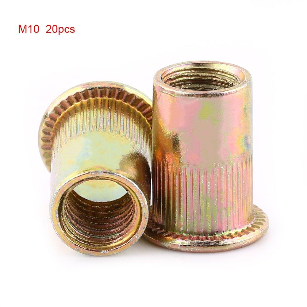M3-M12 Rivetto Testa Piatta Acciaio Al Carbonio Rivetto Filettato Nutsert Fastener(M10(20个/包)) Zerone
